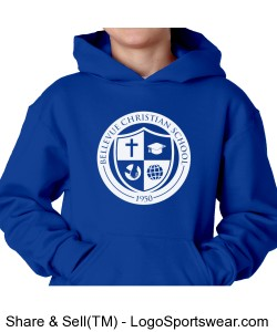Youth Hooded Logo Pullover Blue Design Zoom