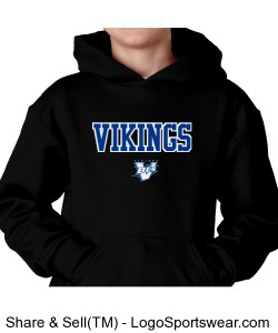 Youth Hooded Pullover Vikings Black Design Zoom
